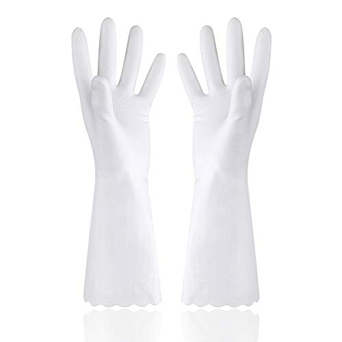 GXAO Reusable Dishwashing Gloves with Latex Free Kitchen Bathroom Cleaning Size Large 1 Pair Color...