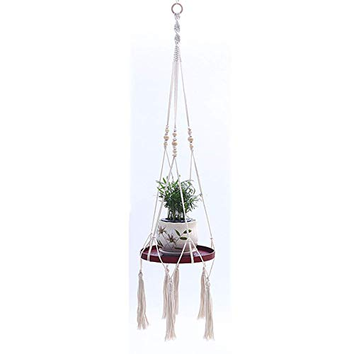 IUYJVR Colgadores de macramé para Plantas, macetero Colgante de Interior, Soporte Decorativo para macetas con Hermosos Recortes de Flores, decoración Bohemia para el hogar