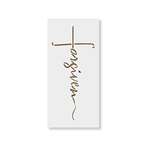 Forgiven Cross Stencil Template - Reusable Stencils for Painting in Small & Large Sizes