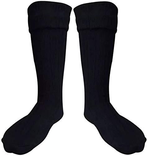 SCOTTISH BLACK KILT HOSE SOCKS FOR MEN SIZE L (9.5-12 US)