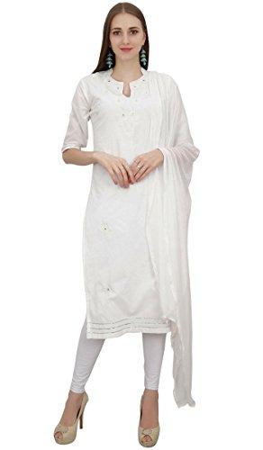 Atasi Readymade Weiss Salwar Pants Bestickte Baumwolle Salwar Kameez Anzug Indian Dress-38