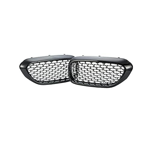 ZQCJDM Grill Ridney, Al21 Malla de Coche Ajuste para 5 Series G30 / G38 2017-19,Black and Silver