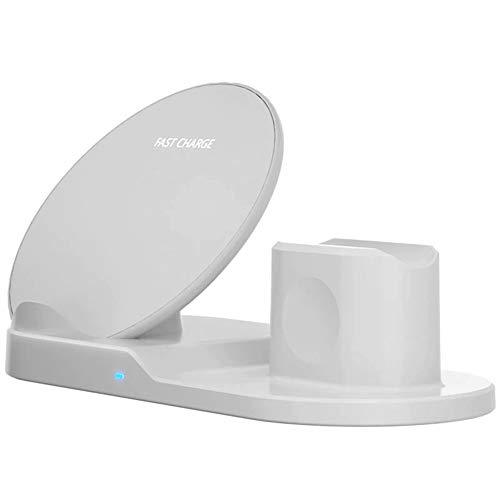 Estación de Carga iWatch con Base de Carga inalámbrica 3 en 1 para iPhone 11 Pro MAX para Samsung S10 / S10 + / S10e, S9 / S9 Plus, Note 8/9, S8 / S8 Plus, Dispositivos habilitados para Qi, etc.