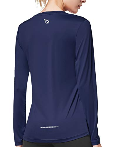 BALEAF Damen Langarm Shirts UV Shirt Atmungsaktiv Laufshirts Navy XL