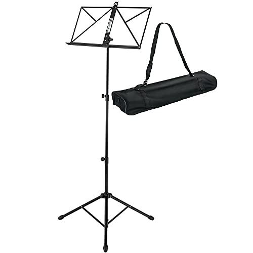 Kirstein Notenständer - Robuster klappbarer Metallständer mit Tasche- Höhenverstellbar von 44-113 cm - Tragetasche mit Schultergurt - Schwarz