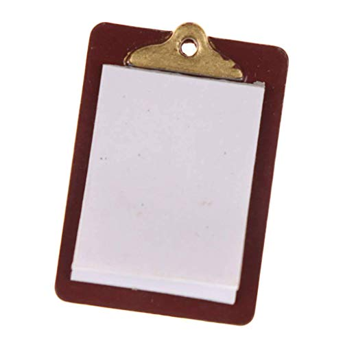 F Fityle Dollhouse Miniature Accessories 1:12 Scale Alloy Paper Clipboard Toys