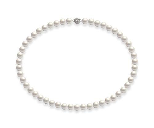 Schmuckwilli Südsee Tahiti Damen Muschelkernperlen Perlenkette Weiß Magnetverschluß echte Muschel 50cm dmk0019-50 (8mm)