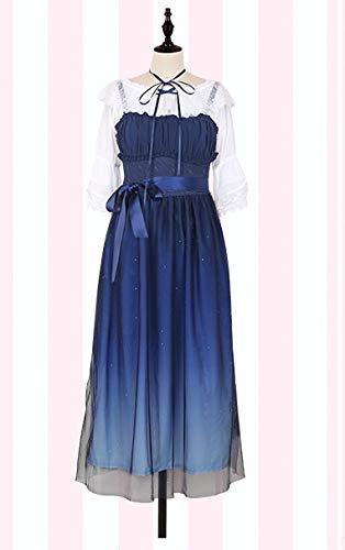 LJYNB Shinning Stars Vestido Lolita Gradient Star Blue Girls Vestido de lujo slido Vestido plisado con pliegues de encaje con conjunto de camisa M vestido largo y camisa