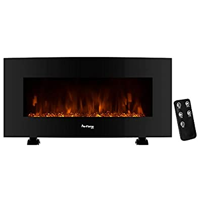 e-Flame USA Sundance Curved Wall Mounted or Freestanding Combo LED Electric Fireplace with Remote - 3D Log and Fire Effect - 34-inch