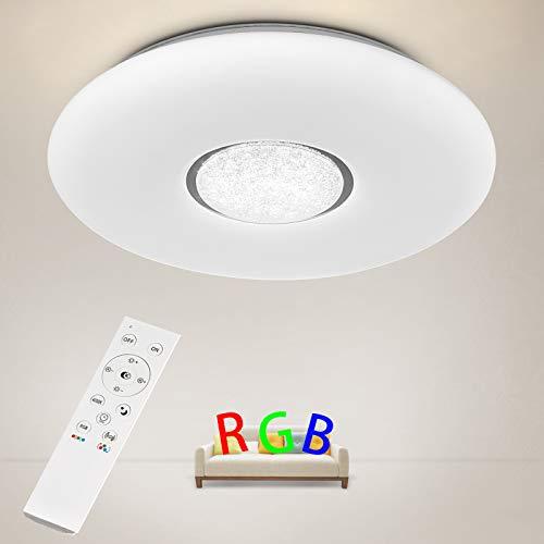 Anten Plafonnier LED rgb | plafonnier dimmable avec télécommande | 36W LED Rond Lampes de Plafond Φ41x 7cm | couleur RVB, 3000-6500K | Luminaire Intérieur Parfait pour Chambre, chambre d'enfant, salon