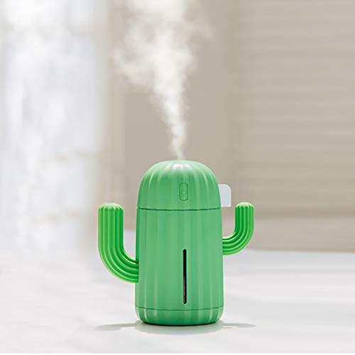 Hmg Humidificador de Aire de sobremesa portátil de Silicona con Forma de Cactus con luz Nocturna, Capacidad: 340 ml, CC 5 V (Color : Green)