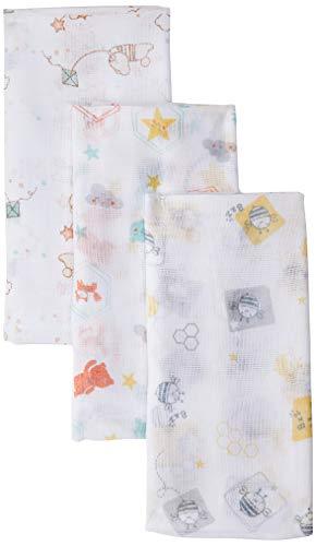 Toalha de Fralda Papi Estampada 1, 0M X 70cm 03 Un, Papi Textil, Branco