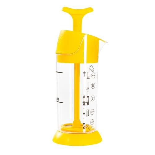 Espumador De Leite Pressca Amarelo, Leite Cremoso, BPA Free, 200 ml, Mixer, Cremeira.