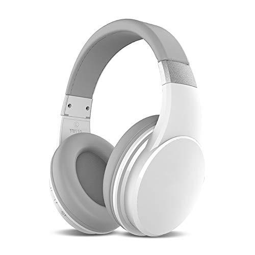Macabolo koptelefoon met hoofdtelefoon voor het oor, draadloze Bluetooth Super Bass koptelefoon, lichte hoofdtelefoon voor sport, muziek, gaming wit
