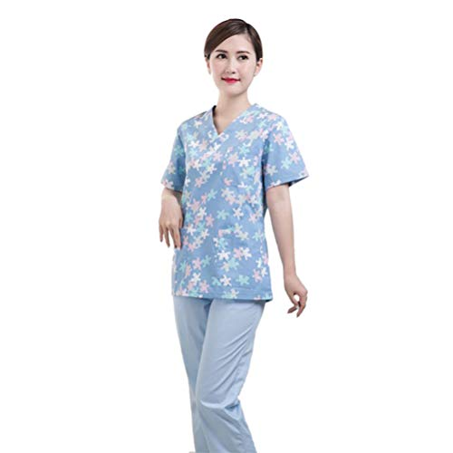 PRETYZOOM Scrub Top Printing Doctor Verpleegkundige Uniform Korte Mouwen V hals Ziekenhuis Werkkleding Arbeidskleding Mock Wrap voor Schoonheidsspecialiste (Maat S Sky Blue)