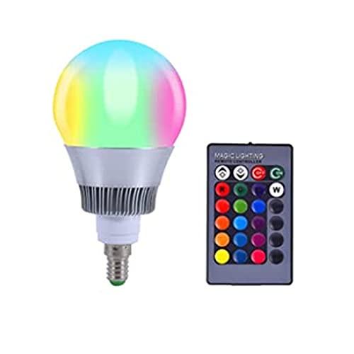 Monland LáMpara de Cambio de Color Luz LED RGB 10W E14 LáMparas LED de 16 Colores con Control Remoto (E14)