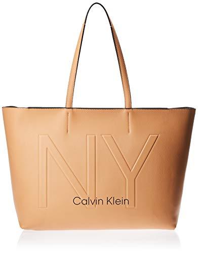 Calvin Klein Damen Ck Must Psp20 Med Shopper Ny Tote, Beige (Dark Sand), 0.1x0.1x0.1 centimeters