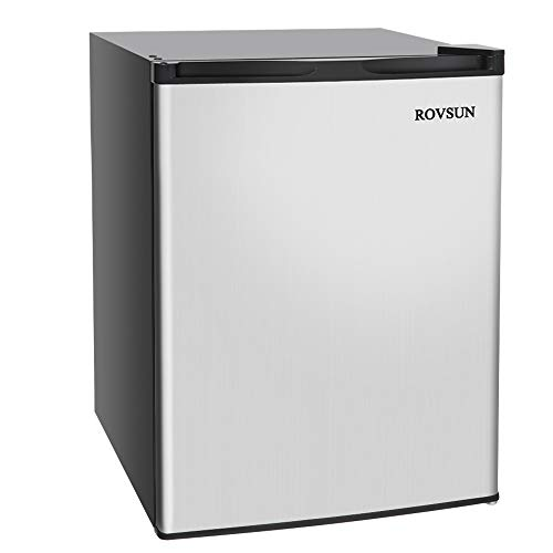 ROVSUN 2.1 Cu.Ft Compact Upright Freezer with Reversible Stainless Steel Single Door, Removable Shelf, Small Countertop Freezer with 7 Grade Adjustable Thermostat for Home Office Dorm Apartment