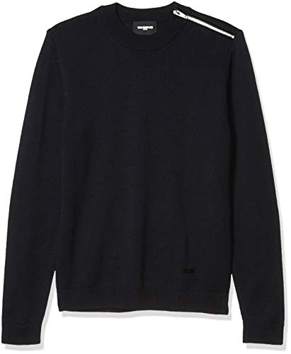 The Kooples Men's Men's Loose Fitted, Knit Pullover with a Round Neck, NAV03, L
