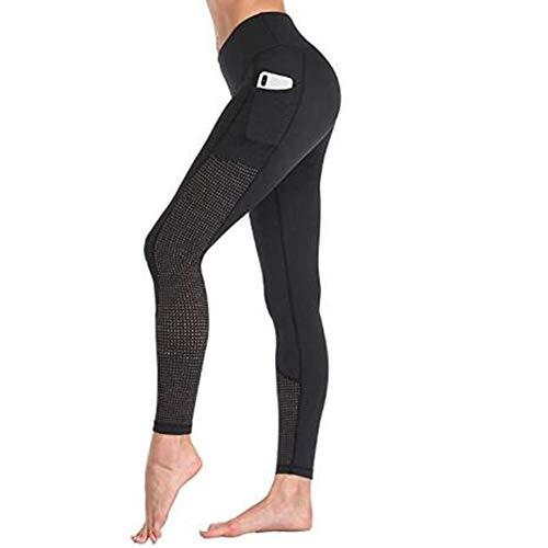 Damen Reit-Leggings mit Vollbesatz, Reithose, Reithose, Leggings mit Silikonaufnäher und Handytasche, Schwarz, M