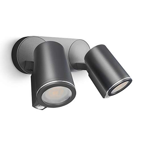 Steinel Foco Spot Duo S 90° con sensor de movimiento (incluye bombilla LED GU10, conexión por cable, aluminio, 15 W), color antracita
