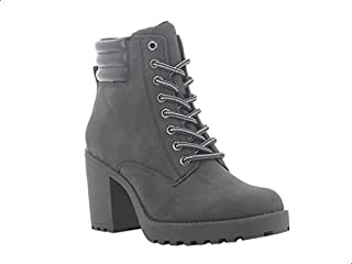 Sprox Faux Nubuck Quilted Heel Lace-Up Boots with Pull Tab For Women