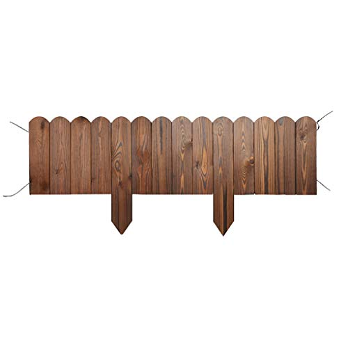 FEIYUGN Palisade Spiked Log Roll Border, Grass Lawn Edge Fence, Set of 2 Wooden, Folding Patio Flower Bed, 105x20cm, Brown FEIYU