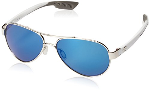 Costa Del Mar Women's Loreto Polarized Aviator Sunglasses, Palladium/Grey Blue Mirrored Polarized-580P, 56 mm