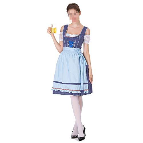 KODH Neue Halloween kostüm XL Cosplay Bier mädchen Kleid schlank bühnenkostüm Maid Off Schulter Sling Kleid (Color : Blue)