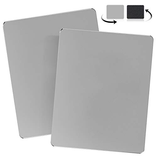 JEDIA Mouse Pad Gaming Computer 2 Packs,Hard Metal Aluminum and Leather Mouse Pads,Smooth Double Side Mouse Mat Waterproof Fast Mousepad for Wireless Mouse for Office & Home,Gray Medium 9.4'×7.9'