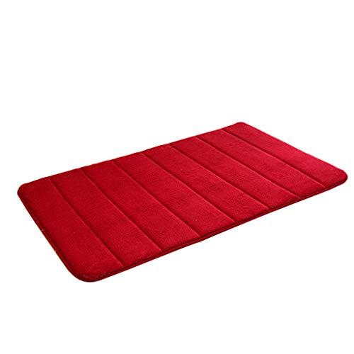 KLFGJ Memory Foam Mat Absorbent Slip-Resistant Pad Bathroom Shower Bath Mats Soft and Comfortable Natural Anti-Slip Easier to Dry for Bathroom Floor Rug (40CM x 60CM, Red)