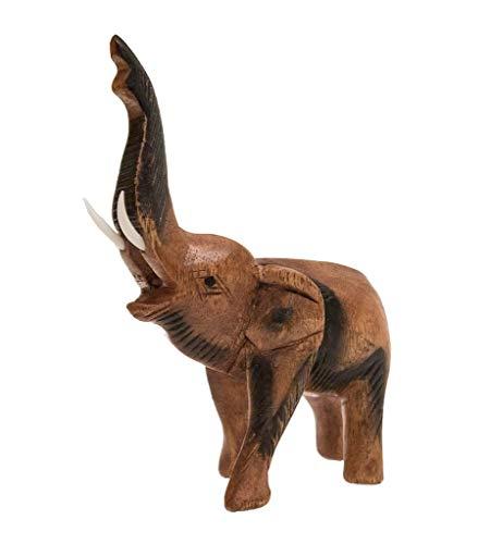 Elefant, stehend, Rüssel erhoben, mittel, Holz, Holzfigur, Deko, Dekoration, Dekofigur, Holzdeko, Skulptur, braun