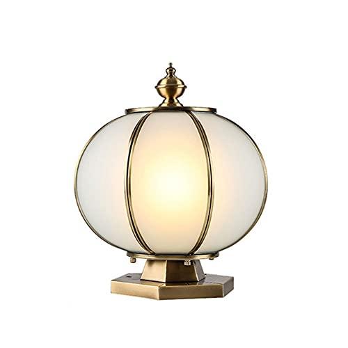 WISHVYQ Lámpara de Poste de Vidrio a Prueba de Lluvia Luces Exteriores Todo el Pilar de luz de Cobre para Exteriores Lámparas de Poste al Aire Libre para Productos de iluminación Exterior de Patio