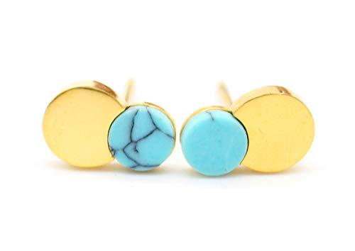 Musthaves Damen Ohrringe Kreise - Marmor - Edelstahl - Länge 1 cm (Gold)