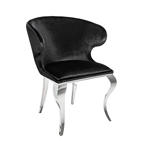Riess Ambiente Eleganter Stuhl MODERN BAROCK II schwarzer Samt Edelstahl Esszimmerstuhl Sessel Samtbezug