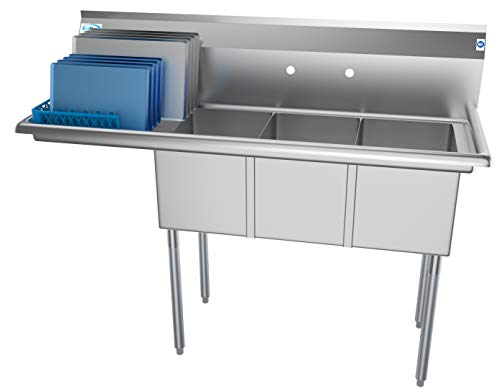 KoolMore 3 Compartment Stainless Steel NSF Commercial Kitchen Sink with Large Drainboard - Bowl Size...