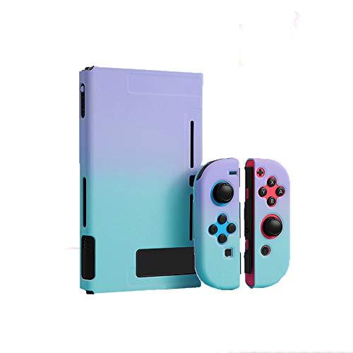 スイッチ ケース 分体式 Nintendo Switch カバー 薄型 Joy-Con用 親指キャップ ニンテンドースイッチ カバー 指紋防止 全面保護 ニンテンド ケース (色 : 紫-グリーン, サイズ : セット)