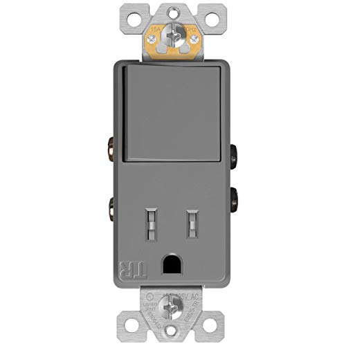 ENERLITES 68625-TR-GY Combination Decorator Paddle Switch 15A/120VAC and Tamper-Resistant Receptacle Outlet 15A/125VAC, Residential/Commercial Grade, UL Listed, Gray