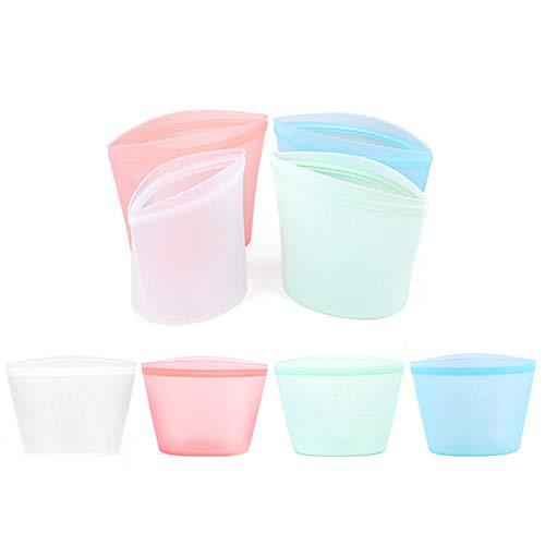 Bolsas de mantenimiento fresco Bolsas refrigeradas de silicona para alimentos frescos Bolsas ziplock subenvasadas Bolsas de almacenamiento para mantenimiento fresco 1000 ml rosa