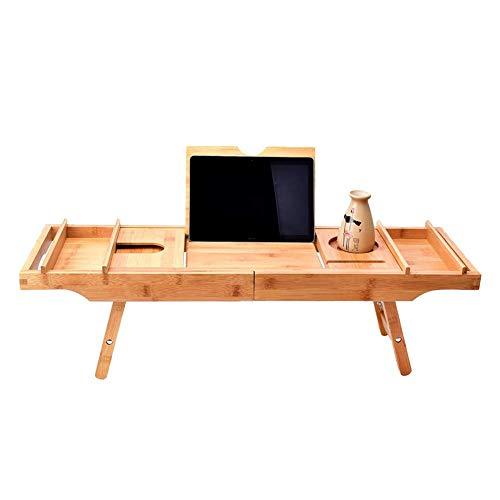 QRYY Bamboe badkuipblad, bed laptop bureau met opvouwbare poten, badkuip caddy dienblad met verstelbare poten, badkamer opbergstandaard opvouwbaar