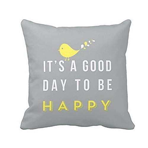 Gaoqi Yellow Bird Letter Square Throw Pillow Case Funda de cojín Decoración para el hogar