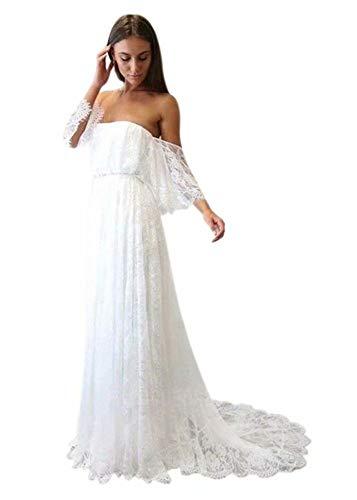 Andybridal Women's Vintage Off Shouler Lace Long Beach Wedding Bohemian Dress Ivory 16