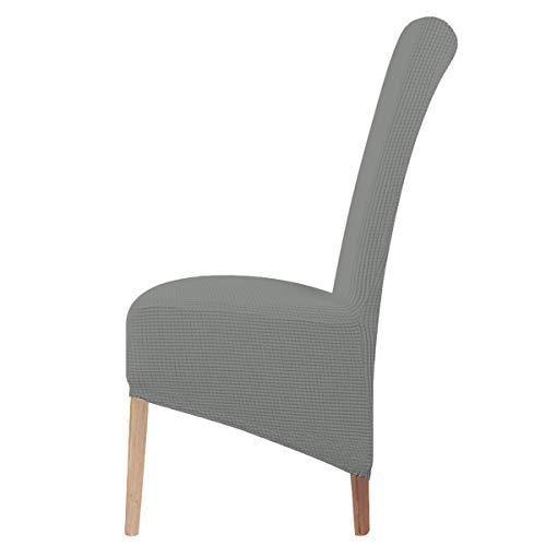 LANSHENG Stretch XL Stuhlhussen für Esszimmerstühle 2/4/6 Pcs Stuhl Schutzbezug, elastische Stuhl Protector Sitzbezüge für Esszimmer Hochzeitsbankett Party Dekoration (Hellgrau,4 pcs)