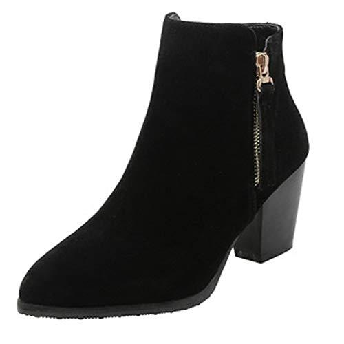 Dorical Chelsea Boots Stiefeletten Damen Kurzschaft Kunstleder mit Absatz Kurze Reissverschluss Bequem Stiefel Winter 6.5 cm Schuhe Schwarz, Gelb, Beige Gr 35-43 EU(Schwarz,39 EU)
