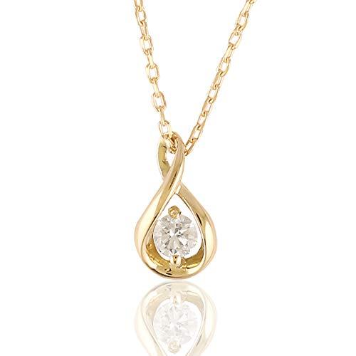 (ビジュブティック) ネックレス K18 18金 一粒ダイヤモンド 0.05ct レディース ゴールド 華やか ペンダント 女性 誕生日プレゼント (イエローゴールド)