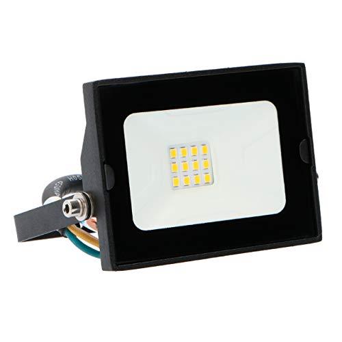 proventa LED Foco exterior IP65 10W 800 lm. Luz blanca neutra 4.000 K. Pantalla de cristal templado. Marco orientable y driver integrado. Protección contra impactos IK06. Clase A+