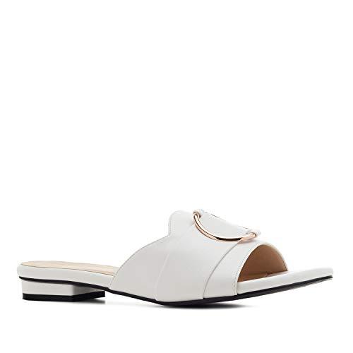 Andres Machado - Sabots mit Absatz für Damen/Mädchen - AM5458 - Sandalen/Sandaletten aus Lederimitat mit Blockabsatz – in Weiß, EU 45