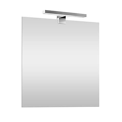 Inbagno Specchio con Lampada LED 60x80 cm Reversibile, specchiera a Filo Lucido, Lampada Cromo L.30 cm a Risparmio energetico