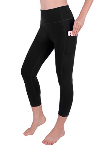 GRAT.UNIC Sport Leggings Damen, 3/4 Yoga Sporthose,Fitnesshose mit Taschen,Yogahosen,Damen Capri Leggings,Hohe Taille Schwarz Stretch Workout Fitness Jogginghose (Schwarz 3/4, M)