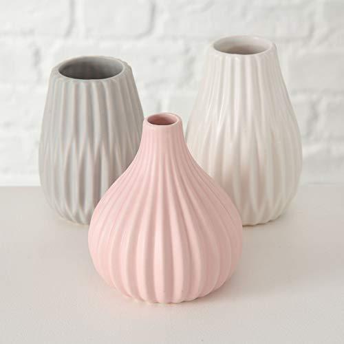 Bloominghome Vase 3er Set Keramik weiß/grau/rosa H11-13 cm